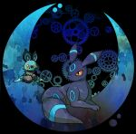 alternate_color black_background closed_mouth commentary_request crescent gears gen_2_pokemon gen_6_pokemon looking_back no_humans noibat paws pokemon pokemon_(creature) shiny_pokemon shuga_(mhwii) toes umbreon