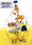 1girl basket bottle chair cup earrings food fruit hasha highres holding holding_cup jewelry looking_at_viewer no_nose orange_eyes orange_hair orangina original sandals shirt short_hair sitting sleeveless sleeveless_shirt solo wide_shot yellow_shirt