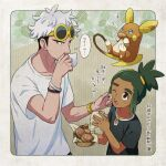 2boys alolan_form alolan_raichu black_hair blush bracelet cheek_squash commentary_request dark_skin dark_skinned_male drinking gen_7_pokemon green_hair grey_hair guzma_(pokemon) hau_(pokemon) holding jewelry male_focus multicolored_hair multiple_boys one_eye_closed open_mouth pokemon pokemon_(creature) pokemon_(game) pokemon_sm sewenan shirt short_sleeves t-shirt teeth thought_bubble tongue translation_request two-tone_hair undercut watch watch white_shirt