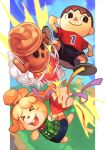 1boy 1girl aircraft animal_crossing animal_ears blue_sky blush_stickers chair condensation_trail day dog_ears dog_girl dog_tail eyebrows_visible_through_hair gyroid_(animal_crossing) hair_tie holding hungry_clicker isabelle_(animal_crossing) sandals shirt short_hair short_sleeves shorts skirt sky smile super_smash_bros. tail topknot tree villager_(animal_crossing)