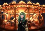 1girl bag blush carousel closed_eyes commentary_request fire_emblem fire_emblem:_three_houses flayn_(fire_emblem) garreg_mach_monastery_uniform green_hair highres horse long_hair mihitashi open_mouth solo waving