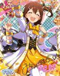 blush brown_hair character_name closed_eyes dress idolmaster_million_live!_theater_days kasuga_mirai short_hair smile