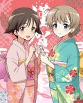 2girls asa_no_ha_(pattern) background_text bangs blue_eyes brown_eyes brown_hair checkered closed_mouth commentary_request floral_print green_kimono hair_flaps hair_up happy_new_year highres holding holding_paper japanese_clothes kaneko_(novram58) kimono long_sleeves looking_at_viewer lynette_bishop miyafuji_yoshika multiple_girls new_year obi open_mouth paper pink_kimono print_kimono red_eyes sash short_hair smile sparkle standing strike_witches tied_hair world_witches_series