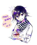 1boy bangs black_hair cake cake_slice checkered checkered_scarf commentary_request cropped_torso crown_print danganronpa_(series) danganronpa_v3:_killing_harmony dated food food_on_face hair_between_eyes happy_birthday highres holding holding_plate holding_spoon jacket long_sleeves looking_at_viewer male_focus mian_(nemu_0118) ouma_kokichi plate purple_hair scarf shiny shiny_hair short_hair simple_background solo spoon upper_body violet_eyes white_jacket
