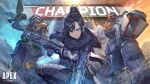 1girl 2boys apex_legends arm_up armor assault_rifle bandaged_arm bandages bangs belt bird black_hair bloodhound_(apex_legends) blue_eyes breasts commentary_request crow dark_skin dark_skinned_male electricity from_below gas_mask gibraltar_(apex_legends) gloves goggles gun hair_bun heirou highres holding holding_gun holding_weapon light_rays looking_at_viewer mask medium_breasts mouth_mask multiple_boys outdoors parted_bangs rifle rock scarf shield short_hair sky standing utility_belt weapon wraith_(apex_legends)