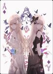 2girls ace_of_diamonds alice_(wonderland) alice_in_wonderland bangs bare_shoulders black_dress black_gloves black_vs_white blonde_hair blue_eyes bow bug butterfly card dress dual_persona eyebrows_visible_through_hair falling_card flower gloves hair_bow hand_up heart highres holding holding_card insect long_hair merry_hearm multiple_girls original playing_card see-through smile white_dress white_gloves