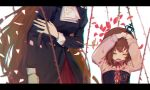 2girls black_dress brown_hair closed_eyes crying dec13yomi dress film_grain frills hand_on_own_arm hands_on_own_head head_out_of_frame long_hair long_sleeves multiple_girls open_mouth petals pink_shirt rose_petals shirt sleeve_cuffs tears thorns umineko_no_naku_koro_ni ushiromiya_maria ushiromiya_rosa