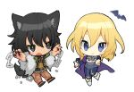 2girls andou_(girls_und_panzer) animal_ears bat black_eyes black_hair blonde_hair blue_eyes blue_pants capelet chain chibi claws fur_collar fur_trim girls_und_panzer looking_at_viewer multiple_girls oshida_(girls_und_panzer) outstretched_arm pants smile standing standing_on_one_leg tail tan3charge wavy_mouth white_background wolf_ears wolf_tail