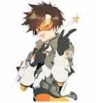 1girl ;d bangs bodysuit bomber_jacket brown_eyes brown_hair chest_harness collar collared_jacket eyebrows_visible_through_hair gloves goggles grey_gloves grey_jacket harness highres jacket looking_at_viewer maro_(lij512) one_eye_closed open_mouth orange_bodysuit orange_goggles overwatch short_hair simple_background smile solo spiky_hair star_(symbol) symbol_commentary tracer_(overwatch) upper_body vambraces white_background