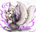 1girl animal_ears aura closed_mouth dark_aura eating fire_emblem fire_emblem_awakening fire_emblem_heroes food fur_trim gloves grima_(fire_emblem) halloween_costume highres holding holding_spoon long_sleeves paw_gloves paws pudding red_eyes robin_(fire_emblem) robin_(fire_emblem)_(female) shorts solo spoon squatting tail thigh_strap twintails usausanopopo5 white_hair wolf_ears wolf_tail