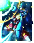 2boys android arm_cannon armor blonde_hair blue_bodysuit blue_eyes blue_footwear blue_headwear bodysuit boots border closed_mouth commentary_request crack energy energy_sword firing floating_hair gloves green_eyes helmet highres holding holding_sword holding_weapon hoshi_mikan jumping long_hair looking_at_viewer male_focus mega_man_(series) mega_man_x_(character) mega_man_x_(series) multiple_boys one_knee open_mouth project_x_zone red_footwear red_headwear robot_ears serious sword teeth very_long_hair weapon white_border white_gloves zero_(mega_man)