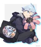 1boy anorith baltoy bangs black_bag black_pants coat commentary_request gen_2_pokemon gen_3_pokemon grey_eyes grey_hair head_down highres holding holding_pokemon jewelry lairon lileep looking_at_viewer male_focus metang pants pokemon pokemon_(creature) pokemon_(game) pokemon_rse ring shiny shiny_hair shoes sitting skarmory smile steven_stone xia_(ryugo) younger