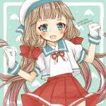 1girl animal_ears blue_background blue_sailor_collar cocoperino commentary_request cow_ears cow_horns cow_tail dolphin gloves green_eyes grey_hair hat horns kantai_collection long_hair looking_at_viewer low_twintails mikura_(kantai_collection) pleated_skirt puffy_short_sleeves puffy_sleeves red_skirt sailor_collar sailor_hat sailor_shirt shirt short_sleeves skirt solo tail twintails two-tone_background white_gloves white_shirt