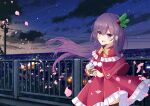 1girl :d absurdres bangs black_legwear blurry blurry_background blush bow capelet cityscape clouds coffee_cup commentary_request cup depth_of_field disposable_cup dress eyebrows_visible_through_hair falling_star floating_hair frilled_capelet frilled_dress frills hair_between_eyes hair_ornament highres holding holding_cup holly_hair_ornament huge_filesize kantai_collection kisaragi_(kantai_collection) long_hair looking_at_viewer nekoyanagi_(azelsynn) night night_sky open_mouth outdoors petals pleated_dress power_lines purple_hair railing red_capelet red_dress red_eyes sky smile solo standing thigh-highs utility_pole very_long_hair yellow_bow