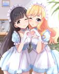 2girls ;) bangs black_eyes black_hair blonde_hair blue_dress blue_eyes blunt_bangs blurry blurry_background blush braid breasts choker closed_mouth collarbone commentary_request cowboy_shot depth_of_field dress eyebrows_visible_through_hair frills gloves heart heart_hands heart_hands_duo idolmaster idolmaster_cinderella_girls idolmaster_cinderella_girls_starlight_stage indoors kobayakawa_sae long_hair looking_at_viewer maid maid_headdress medium_breasts multiple_girls namidako one_eye_closed ootsuki_yui open_mouth puffy_short_sleeves puffy_sleeves short_sleeves smile striped thigh-highs white_gloves white_legwear zettai_ryouiki