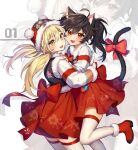 2girls ahoge animal_ears bangs blonde_hair blush bow cat_ears cat_girl cat_tail commentary_request copyright_request doomie1 fang floral_print from_side fur-trimmed_headwear fur_trim hands_up hat highres hug jacket large_bow long_hair multiple_girls open_mouth print_skirt red_bow red_eyes red_footwear red_legwear red_skirt santa_hat skin_fang skindentation skirt smile tail tail_bow tail_ornament thigh-highs twintails two-tone_legwear white_jacket white_legwear yellow_eyes