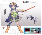 1girl armband atte_nanakusa barcode bikini blue_hair boots bullpup camouflage camouflage_legwear drone gloves green_eyes gun hair_through_headwear heterochromia high-visibility_vest high_visibility_jacket highres holding holding_gun holding_weapon micro_bikini original p90 red_eyes rubber_boots see-through simple_background single_thighhigh submachine_gun swimsuit thigh-highs traffic_baton twintails weapon