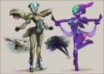 2girls arm_cannon armor banshee_(halo) breasts cockpit colored_skin commentary english_commentary full_body glowing_nipples green_skin halo:_combat_evolved halo_(game) helmet highres justrube large_breasts mecha_musume metal_skin multiple_girls neon_trim no_eyes outstretched_arms personification photo_inset power_armor purple_skin skin_tight thrusters wasp_(halo) weapon