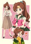 1990s_(style) 1girl :d ^_^ arm_at_side bangs bishoujo_senshi_sailor_moon black_footwear bobbles border bow brooch brown_hair brown_sailor_collar brown_skirt choker closed_eyes collarbone commentary earrings elbow_gloves emphasis_lines furrowed_eyebrows gem geometric_pattern gloves green_choker green_eyes green_jacket green_sailor_collar green_skirt hand_on_hip highres jacket jewelry kino_makoto lace-up_top large_bow light_blush long_hair long_skirt matsuda_hikari multiple_persona open_mouth outside_border pink_background pink_bow ponytail retro_artstyle sailor_collar sailor_jupiter sailor_moon school_uniform serafuku shirt shoes skirt smile smirk swept_bangs tiara turtleneck white_gloves white_shirt yellow_background yellow_shirt
