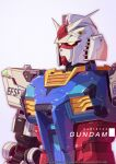 absurdres artist_name azzalea character_name english_commentary glowing glowing_eyes gundam highres looking_ahead mecha mobile_suit mobile_suit_gundam no_humans real_life rx-78-2 rx-78f00 science_fiction solo v-fin yellow_eyes