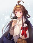 1girl ahoge alternate_costume bag black_coat blush brown_hair closed_mouth coat coat_on_shoulders coffee_cup cup disposable_cup double_bun highres holding kantai_collection kasumi_(skchkko) kongou_(kantai_collection) lips long_hair long_sleeves scarf shoulder_bag smile solo upper_body violet_eyes white_scarf