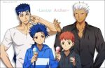 4boys akujiki59 alternate_costume archer bangs black_hoodie black_shirt blue_hair blue_hoodie closed_mouth collarbone collared_shirt commentary_request cu_chulainn_(fate)_(all) dark_skin dark_skinned_male earrings emiya_shirou fate/stay_night fate_(series) food grey_background hand_up holding hood hood_down hoodie ice_cream ice_cream_cone jewelry lancer long_hair long_sleeves looking_at_another male_focus multiple_boys parted_lips red_eyes redhead shirt short_hair simple_background smile teeth white_hair white_shirt