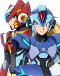 2boys absurdres android armor blonde_hair blue_eyes blue_headwear closed_mouth commentary_request english_text frown green_eyes helmet highres hoshi_mikan long_hair looking_at_viewer male_focus mega_man_(series) mega_man_x_(character) mega_man_x_(series) multiple_boys red_headwear redesign serious shoulder_armor simple_background upper_body white_background zero_(mega_man)