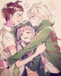 1girl 2boys :d ahoge backpack bag bangs black_jacket blurry blurry_foreground blush brown_hair cat_bag closed_eyes commentary_request danganronpa_(series) danganronpa_2:_goodbye_despair depth_of_field facing_another from_side green_jacket green_neckwear grey_hair hair_ornament hairclip hand_on_another's_head highres hinata_hajime hood hood_up hooded_jacket jacket komaeda_nagito long_sleeves looking_at_another medium_hair mian_(nemu_0118) motion_blur multiple_boys nanami_chiaki necktie open_mouth pink_bag pink_hair sandwiched shiny shiny_hair short_hair short_sleeves smile