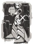 1boy absurdres android arm_cannon armor character_name closed_mouth commentary_request from_side full_body gloves greyscale hand_on_own_arm helmet highres hoshi_mikan male_focus mega_man_(series) mega_man_x_(character) mega_man_x_(series) monochrome profile redesign robot_ears solo standing weapon
