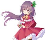 1girl :d absurdres bangs black_legwear blush bow capelet coffee_cup cup disposable_cup dress eyebrows_visible_through_hair floating_hair frilled_capelet frilled_dress frills hair_between_eyes hair_ornament highres holding holding_cup holly_hair_ornament kantai_collection kisaragi_(kantai_collection) long_hair looking_at_viewer nekoyanagi_(azelsynn) open_mouth pleated_dress purple_hair red_capelet red_dress red_eyes simple_background smile solo standing thigh-highs very_long_hair white_background yellow_bow