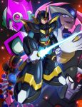 4boys :d android armor black_headwear blue_bodysuit bodysuit closed_mouth commentary_request energy_sword evil_grin evil_smile forehead_jewel full_body gate_(mega_man) gloves green_eyes grin helmet high_max_(mega_man) highres holding holding_weapon hoshi_mikan looking_at_viewer looking_back male_focus mega_man_(series) mega_man_x6 mega_man_x_(character) mega_man_x_(series) multiple_boys nightmare_virus_(mega_man) open_mouth purple_headwear robot_ears serious shoulder_armor smile standing sword upper_teeth violet_eyes weapon white_gloves zero_(mega_man) zero_nightmare_(mega_man)