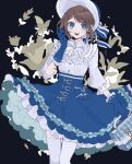 1girl :d atama_ga_pa bag bangs blue_eyes blue_gloves blue_headwear blush bonnet boudoir_dream_(identity_v) bow bright_pupils brown_hair dress emma_woods eyebrows_visible_through_hair freckles frilled_dress frilled_gloves frilled_sleeves frills gloves hat holding holding_bag identity_v layered_dress long_sleeves official_alternate_costume open_mouth puffy_long_sleeves puffy_sleeves short_hair sidelocks smile solo symbol-shaped_pupils thigh-highs white_legwear white_pupils