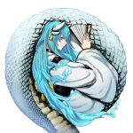 1girl blue_hair check_copyright closed_mouth copyright_request ear_tag eyebrows_visible_through_hair fan fate_(series) folding_fan hatching_(texture) highres holding holding_fan horns kiyohime_(fate) kosai lamia light_blue_hair long_hair monster_girl multiple_horns scales simple_background slit_pupils smile solo very_long_hair white_background yellow_eyes