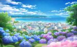 antennae bay beach blue_flower blue_sky blurry boat building cityscape clouds commentary_request day depth_of_field flower highres house hydrangea leaf mountain mountainous_horizon no_humans ocean original outdoors pink_flower purple_flower sachiko15 scenery shore sky tree watercraft