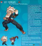 1boy 1girl animal_ears anklet artist_name bracelet breasts character_name character_profile english_commentary english_text eyebrows_visible_through_hair fangs gen_1_pokemon hand_wraps hat highres jewelry kinkymation large_breasts orange_eyes personification poke_ball pokemon primeape purple_hair sarashi tan white_hair