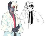1boy black_gloves black_hair closed_mouth coat gas_mask gloves gradient gradient_hair half-closed_eyes hand_on_mask highres kometsubu labcoat male_focus mask mask_lift multicolored_hair necktie original red_neckwear simple_background smile white_background white_coat