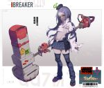 1girl atte_nanakusa backpack bag barcode belt bikini bikini_top blood bloody_weapon blue_skirt character_profile closed_mouth colored_skin covered_nipples crack english_text fire green_eyes green_fire grey_skin hammer highres holding holding_hammer holding_weapon huge_weapon id_card knee_pads long_hair looking_at_viewer navel neck_brace original puffy_sleeves purple_hair randoseru skirt sleeves_past_fingers sleeves_past_wrists solo standing swimsuit torn torn_clothes weapon