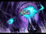 animal_skull blue_fire copyright_name dust dust_cloud english_text fire flame monster no_humans pixiv_fantasia pixiv_fantasia_4 ryota-h skull