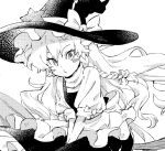 1girl akiyoku bangs black_headwear black_skirt black_vest blush_stickers bow braid broom commentary english_commentary greyscale hair_bow hat hat_bow kirisame_marisa long_hair looking_at_viewer monochrome shirt simple_background single_braid skirt solo touhou turtleneck vest white_background white_shirt witch_hat