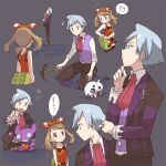 1boy 1girl aron bare_arms bow_hairband brown_hair closed_mouth collared_shirt commentary_request fanny_pack gen_3_pokemon grey_background hairband holding jacket jewelry kneeling looking_back may_(pokemon) musical_note pants pokemon pokemon_(creature) pokemon_(game) pokemon_oras popcorn_91 purple_vest ring sableye shirt sleeveless sleeveless_shirt smile steven_stone thought_bubble vest white_shirt