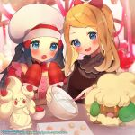 2girls :o alcremie alcremie_(strawberry_sweet) apron blue_eyes blush bow brown_dress buttons chikuwa commentary_request dawn_(pokemon) dress eyebrows_visible_through_hair eyelashes food fruit gen_5_pokemon gen_8_pokemon grey_headwear hair_bow hat highres holding_whisk light_brown_hair mixing_bowl multiple_girls official_art open_mouth pokemon pokemon_(creature) pokemon_(game) pokemon_masters_ex red_bow serena_(pokemon) smile strawberry teeth tongue whimsicott whisker_markings whisking