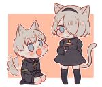 1boy 1girl animal_ears black_dress black_gloves blue_eyes blush cat_ears cat_girl cat_tail chibi dog_boy dog_ears dog_tail dress full_body gloves hair_over_one_eye hairband heart heart-shaped_pupils hn_(artist) nier_(series) nier_automata no_blindfold open_mouth seiza short_hair silver_hair sitting smile symbol-shaped_pupils tail thigh-highs yorha_no._2_type_b yorha_no._9_type_s