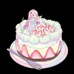 1girl black_background blush dress food food_themed_hair_ornament fork fruit hair_ornament hand_up long_hair one_eye_closed original pink_hair plate ring_411 shadow simple_background sitting solo strawberry strawberry_hair_ornament very_long_hair white_dress
