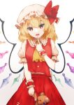 1girl absurdres ascot bangs blonde_hair bow breasts bright_pupils buttons commentary_request cowboy_shot crystal dress_shirt eyebrows_visible_through_hair fangs finger_to_face finger_to_mouth finger_to_own_chin flandre_scarlet frilled_bow frilled_cuffs frilled_shirt_collar frilled_sleeves frills hand_up hat hat_bow hat_ribbon head_tilt highres holding holding_stuffed_toy index_finger_raised looking_at_viewer medium_hair mob_cap open_mouth puffy_short_sleeves puffy_sleeves red_bow red_eyes red_ribbon red_skirt red_vest ribbon shirt short_hair short_sleeves sidelocks simple_background skirt small_breasts smile solo somei_ooo stuffed_animal stuffed_toy stuffing teddy_bear touhou tsurime vest white_background white_pupils white_shirt wings wrist_cuffs yellow_neckwear