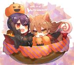 2boys :d arms_up bangs black_footwear black_gloves black_jacket black_pants blush boots brown_eyes brown_hair candy chibi dated eyebrows_visible_through_hair fang food fushimi_gaku gloves grey_shirt hair_between_eyes halloween in_bowl in_container jack-o'-lantern jacket kenmochi_touya lollipop long_hair long_sleeves looking_at_viewer male_focus miniboy multiple_boys nijisanji open_clothes open_jacket open_mouth pants purple_hair red_eyes shikino_yuki shirt shoe_soles smile swirl_lollipop very_long_hair