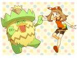 1girl :d bike_shorts blush border bow_hairband breasts brown_hair commentary_request fanny_pack gen_3_pokemon hairband holding_hand long_hair ludicolo may_(pokemon) open_mouth outside_border pokemon pokemon_(creature) pokemon_(game) pokemon_oras polka_dot polka_dot_background popcorn_91 shirt shoes shorts sleeveless sleeveless_shirt smile teeth white_border