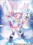 1girl ;d animal_ears animal_hat ario blue_footwear blue_legwear boots bow character_request checkered checkered_floor commentary_request company_name fake_animal_ears fold-over_boots frilled_skirt frills gloves hat knee_boots long_hair looking_at_viewer magical_girl official_art one_eye_closed open_mouth pom_pom_(clothes) print_footwear print_legwear purple_hair rabbit_ears skindentation skirt smile solo sparkle star_(symbol) sticker thigh-highs v wand white_gloves wixoss yellow_bow