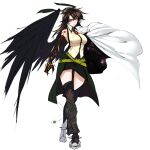 1girl belt black_legwear black_wings breasts brooch brown_hair cape closed_mouth collared_shirt feathered_wings full_body green_skirt hair_between_eyes highres jewelry large_breasts long_hair looking_at_viewer red_eyes reiuji_utsuho shirt shukusuri simple_background single_wing skirt sleeveless sleeveless_shirt solo standing thigh-highs touhou white_background white_cape wing_collar wings yellow_shirt
