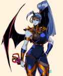 1990s_(style) 1girl antenna_hair armlet asymmetrical_clothes bat_wings beige_background blue_hair blue_skin bracer breasts circlet colored_skin commentary david_liu earrings english_commentary greek_clothes hades_(game) hand_on_hip high_ponytail highres holding holding_weapon jewelry long_hair medium_breasts megaera_(hades) multiple_earrings orange_eyes ponytail retro_artstyle revision single_wing solo spiked_pauldrons thick_thighs thighs very_long_hair weapon wings