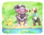 1boy ash_ketchum baseball_cap black_gloves black_hair blush commentary_request day fingerless_gloves gen_1_pokemon gen_5_pokemon genesect gloves grass grey_pants hand_up hat jacket lily_pad looking_to_the_side male_focus mei_(maysroom) mythical_pokemon open_mouth outdoors pants pikachu pokemon pokemon_(anime) pokemon_(creature) pokemon_bw_(anime) shoes short_sleeves signature sitting smile tongue water zipper_pull_tab
